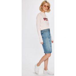 Guess Jeans - Spódnica Eloise. Szare spódniczki jeansowe Guess Jeans, z podwyższonym stanem, midi, ołówkowe. Za 399,90 zł.