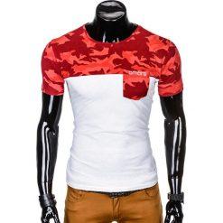 T-SHIRT MĘSKI Z NADRUKIEM S1012 - CZERWONYMORO. Czerwone t-shirty męskie z nadrukiem Ombre Clothing, m. Za 35,00 zł.