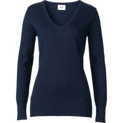 Sweter z dekoltem w serek bonprix ciemnoniebieski. Niebieskie swetry klasyczne damskie bonprix, z dzianiny, z dekoltem w serek. Za 54,99 zł.