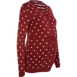 Sweter ciążowy rozpinany w kropki bonprix czerwony kasztanowy. Czerwone kardigany damskie marki bonprix, w kropki. Za 89,99 zł.