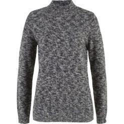 Swetry klasyczne damskie: Sweter ze stójką bonprix czarno-szary melanż
