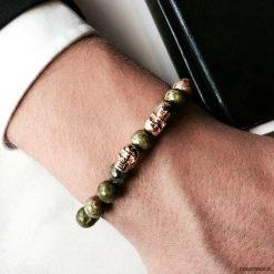 Bransoletka męska GREEN GENT. Zielone bransoletki męskie Pakamera, z kryształem, złote. Za 190,00 zł.