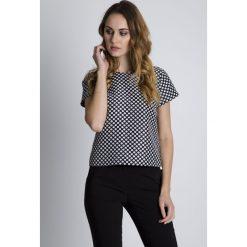 Bluzki asymetryczne: Pudełkowa bluzka z krótkim rękawem BIALCON