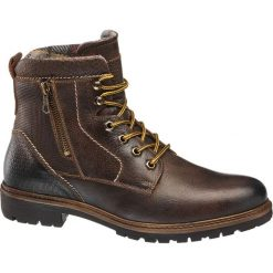 Kozaki męskie AM SHOE brązowe. Brązowe buty zimowe męskie AM SHOE, z materiału, na sznurówki. Za 195,00 zł.