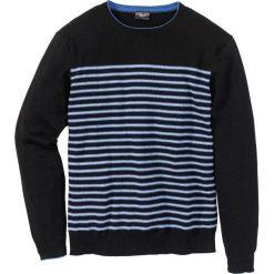 Swetry męskie: Sweter w paski Regular Fit bonprix czarny w paski