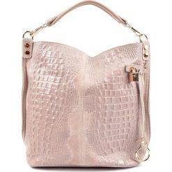 Torebki klasyczne damskie: Skórzana torebka w kolorze pudrowym – (S)33 x (W)40 x (G)16 cm