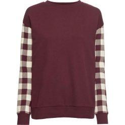 Bluza dresowa bonprix czerwony klonowy - naturalny w kratę. Czerwone bluzy rozpinane damskie bonprix, z nadrukiem, z dresówki. Za 89,99 zł.