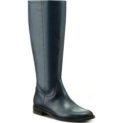 Oficerki GINO ROSSI - DKH589-G12-0B00-5700-F 59. Niebieskie buty zimowe damskie Gino Rossi, z materiału, przed kolano, na wysokim obcasie, na obcasie. W wyprzedaży za 399,00 zł.