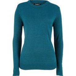 Sweter bonprix niebieskozielony morski. Niebieskie swetry klasyczne damskie marki DOMYOS, z elastanu, street, z okrągłym kołnierzem. Za 54,99 zł.