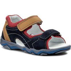 Sandały MIDO - 329 Granat/Żółty. Niebieskie sandały męskie skórzane Mido. Za 139,00 zł.