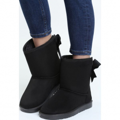 Czarne Śniegowce Lavender Town. Czarne buty zimowe damskie Born2be, z materiału. Za 79,99 zł.