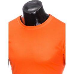T-SHIRT MĘSKI BEZ NADRUKU S883 - POMARAŃCZOWY. Czarne t-shirty męskie z nadrukiem marki Ombre Clothing, m, z bawełny, z kapturem. Za 19,99 zł.