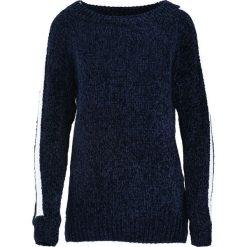 Granatowy Sweter Deep Eyes. Niebieskie swetry klasyczne damskie Born2be, uniwersalny, z kontrastowym kołnierzykiem. Za 59,99 zł.