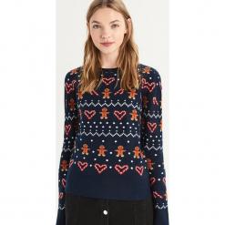Sweter ze świątecznym wzorem - Granatowy. Niebieskie swetry klasyczne damskie Sinsay, l. Za 59,99 zł.