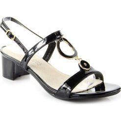 Rzymianki damskie: Sandały damskie lakierowane na słupku czarne Wishot