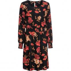 Sukienka boho z nadrukiem: MUST HAVE bonprix czarny w kwiaty. Czarne sukienki boho bonprix, w kwiaty, z okrągłym kołnierzem. Za 99,99 zł.