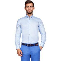 Koszula Niebieska Miramar 2. Niebieskie koszule męskie na spinki LANCERTO, m, z haftami, z bawełny, z kontrastowym kołnierzykiem. Za 299,90 zł.