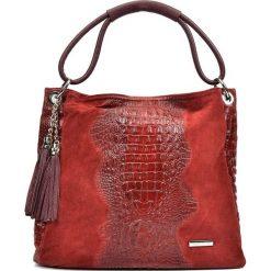 Torebki klasyczne damskie: Skórzana torebka w kolorze czerwonym – 35 x 45 x 14 cm