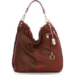 Torebki klasyczne damskie: Skórzana torebka w kolorze czerwonym - 42 x 38 x 17 cm