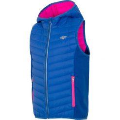 Bezrękawnik puchowy dla dużych dziewcząt JKUDB400 - niebieski. Niebieskie kurtki dziewczęce przeciwdeszczowe 4F JUNIOR, na lato, z materiału. Za 59,99 zł.