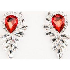 Kolczyki damskie: NA-KD Accessories Kolczyki z czerwonymi kryształami – Red,Multicolor,Silver