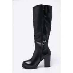 Marco Tozzi - Kozaki. Czarne buty zimowe damskie marki Marco Tozzi, z materiału, z okrągłym noskiem, na obcasie. W wyprzedaży za 199,90 zł.