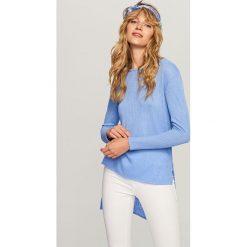 Kardigany damskie: Sweter o asymetrycznej długości – Niebieski