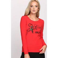 Czerwona Bluzka Much More. Szare bluzki longsleeves marki Born2be, l, z aplikacjami, z okrągłym kołnierzem. Za 24,99 zł.