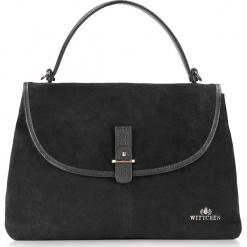 Torebka damska 87-4E-214-1. Czarne torebki klasyczne damskie marki Wittchen, w paski, z zamszu, zamszowe. Za 465,00 zł.