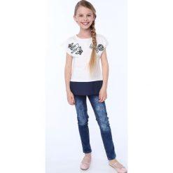 T-shirty dziewczęce: Koszulka dziewczęca z łączonych materiałów kremowa NDZ8212