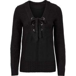 Swetry klasyczne damskie: Sweter ze sznurowaniem bonprix czarny