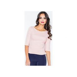 Bluzka M309 Róż. Szare bluzki damskie marki FIGL, m, z bawełny, eleganckie, z asymetrycznym kołnierzem, z długim rękawem. Za 99,00 zł.