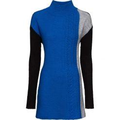 Sweter dzianinowy bonprix czarno-lazurowo-jasnoszary melanż. Niebieskie swetry klasyczne damskie marki ARTENGO, z elastanu, ze stójką. Za 54,99 zł.