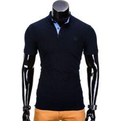 KOSZULKA MĘSKA POLO BEZ NADRUKU S837 - CIEMNO GRANATOWA. Niebieskie koszulki polo marki Ombre Clothing, m, z nadrukiem. Za 39,00 zł.