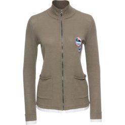 Sweter rozpinany 2 w 1, długi rękaw bonprix jasnooliwkowo-biały. Szare kardigany damskie marki Mohito, l. Za 34,99 zł.