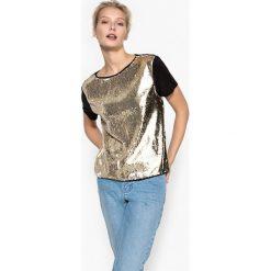 Koszulka z krótkim rękawem z cekinami. Szare bluzki z odkrytymi ramionami marki La Redoute Collections, m, z bawełny, z kapturem. Za 95,72 zł.