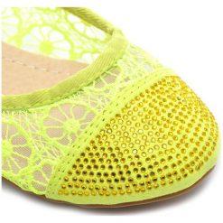 Ażurowe Koronkowe Kolorowe Balerinki. Żółte baleriny damskie ażurowe TOP OR, z koronki, na niskim obcasie. Za 22,45 zł.