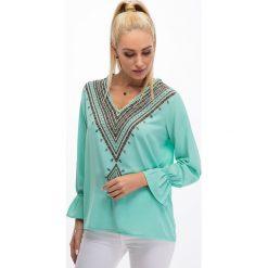 Bluzki damskie: Miętowa koszulowa bluzka 8533
