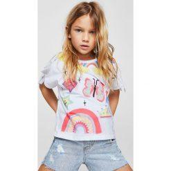 Mango Kids - Top dziecięcy Candypun 110-164 cm. Szare bluzki dziewczęce bawełniane Mango Kids, l, z nadrukiem, z okrągłym kołnierzem. Za 49,90 zł.