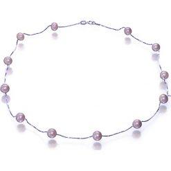 Naszyjniki damskie: Srebrny naszyjnik z perłami – (D)43 cm