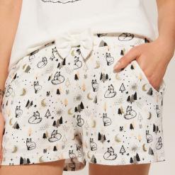 Pizamowe szorty z nadrukiem - Kremowy. Białe szorty damskie z printem marki House, l. Za 25,99 zł.