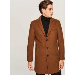 Płaszcz z wełną - Beżowy. Brązowe płaszcze damskie wełniane Reserved. W wyprzedaży za 149,99 zł.