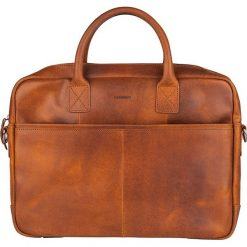 Skórzana torebka w kolorze brązowym na laptop - 40 x 29 x 5 cm. Brązowe torby na laptopa marki Bloomsbury, w paski, ze skóry. W wyprzedaży za 253,95 zł.