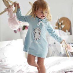 Sukienka bombka z króliczkiem. Niebieskie sukienki dziewczęce z falbanami Pakamera. Za 110,00 zł.