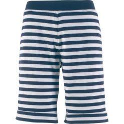 Spodnie dresowe damskie: Bermudy dresowe bonprix ciemnoniebiesko-biały w paski