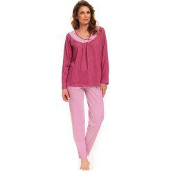 Piżamy damskie: Piżama w kolorze różowym - bluzka, spodnie