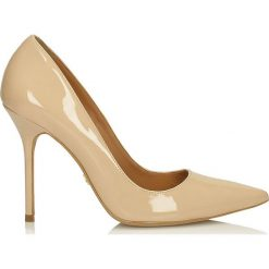 Beżowe czółenka damskie. Brązowe buty ślubne damskie Kazar, ze skóry, na wysokim obcasie, na szpilce. Za 469,00 zł.