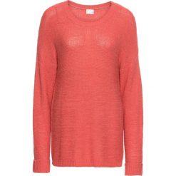 Swetry klasyczne damskie: Sweter z przędzą tasiemkową bonprix koralowy