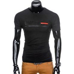 T-shirty męskie: T-SHIRT MĘSKI Z NADRUKIEM S927 – CZARNY