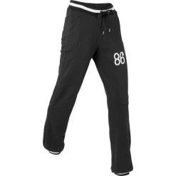 Spodnie sportowe, długie, Level 1 bonprix czarny. Czarne spodnie dresowe damskie bonprix, w paski. Za 74,99 zł.